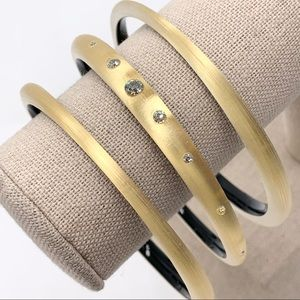 Alexis Bittar 3 Gold Skinny Tapered Bangles in Box